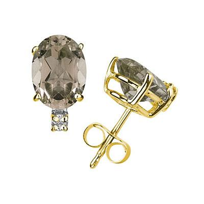 9X7mm Oval Smokey Quartz and Diamond Stud Earrings in 14K Yellow Gold