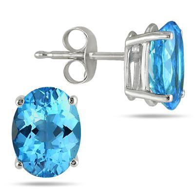 All-Natural Genuine 5x3 mm, Oval Blue Topaz earrings set in 14k White Gold