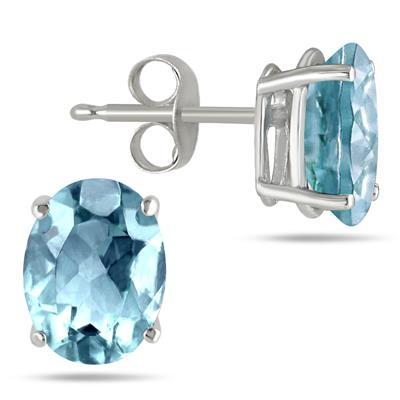 Szul 6X4MM All Natural Oval Aquamarine Stud Earrings
