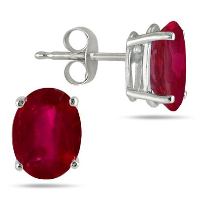 All-Natural Genuine 7x5 mm, Oval Ruby earrings set in 14k White Gold