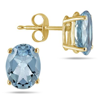 All-Natural Genuine 8x6 mm, Oval Aquamarine earrings set in 14k Yellow gold