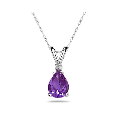 12X8mm Pear Amethyst and Diamond Stud Pendant in 14K White Gold
