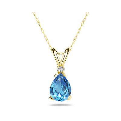 12X8mm Pear Blue Topaz and Diamond Stud Pendant in 14K Yellow Gold