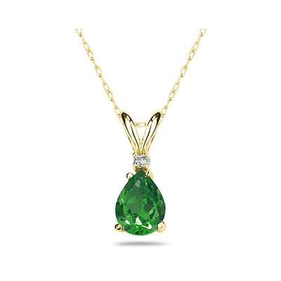 7X5mm Pear Emerald and Diamond Stud Pendant in 14K Yellow Gold