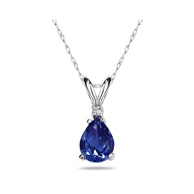 6X4mm Pear Sapphire and Diamond Stud Pendant in 14K White Gold