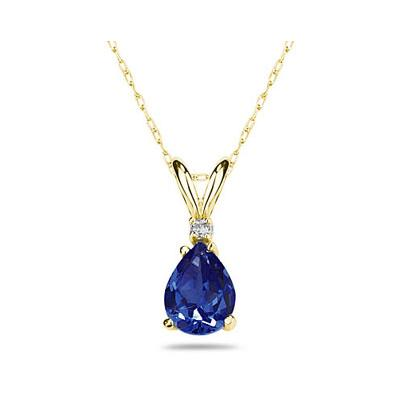 7X5mm Pear Sapphire and Diamond Stud Pendant in 14K Yellow Gold