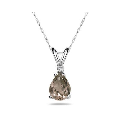 10X7mm Pear Smokey Quartz and Diamond Stud Pendant in 14K White Gold