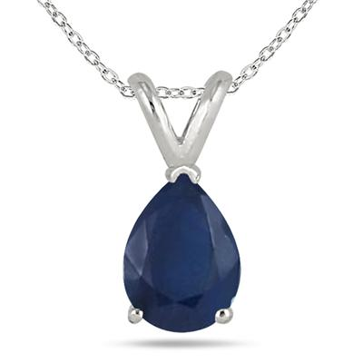 All-Natural Genuine 6x4 mm, Pear Shape Sapphire pendant set in 14k White Gold