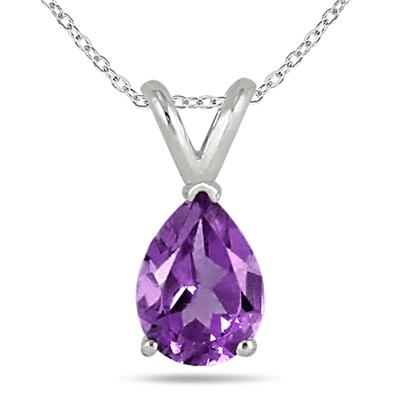 All-Natural Genuine 8x6 mm, Pear Shape Amethyst pendant set in 14k White Gold