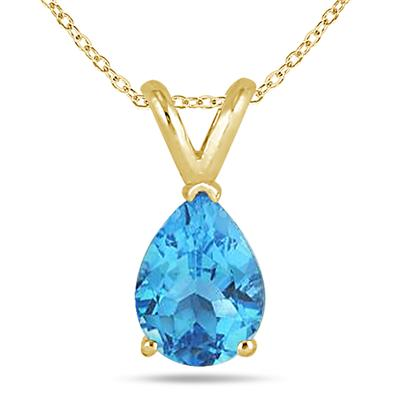 All-Natural Genuine 8x6 mm, Pear Shape Blue Topaz pendant set in 14k Yellow gold