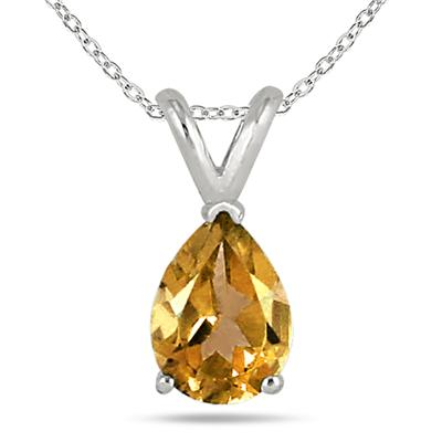 All-Natural Genuine 8x6 mm, Pear Shape Citrine pendant set in 14k White Gold