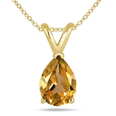 All-Natural Genuine 8x6 mm, Pear Shape Citrine pendant set in 14k Yellow gold