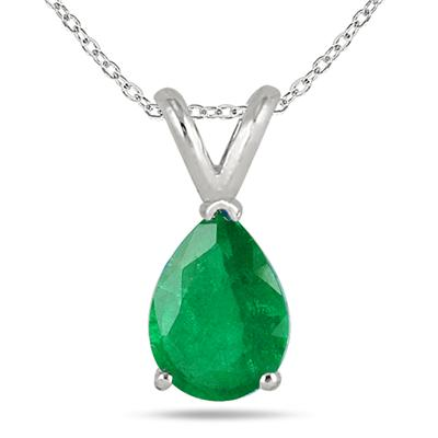 All-Natural Genuine 8x6 mm, Pear Shape Emerald pendant set in 14k White Gold