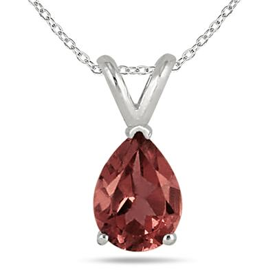 8x6MM All Natural Pear Garnet Stud Pendant in .925 Sterling Silver