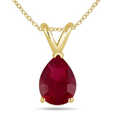 All-Natural Genuine 8x6 mm, Pear Shape Ruby pendant set in 14k Yellow gold