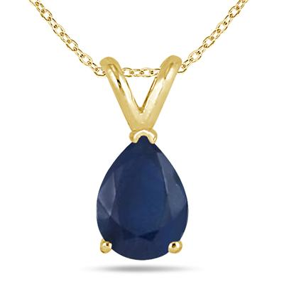 All-Natural Genuine 8x6 mm, Pear Shape Sapphire pendant set in 14k Yellow gold