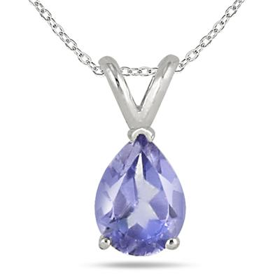 All-Natural Genuine 8x6 mm, Pear Shape Tanzanite pendant set in 14k White Gold