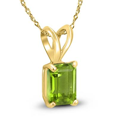 14K Yellow Gold 6x4MM Emerald Shaped Peridot Pendant