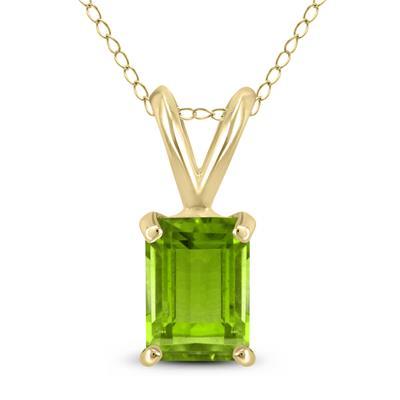 14K Yellow Gold 7x5MM Emerald Shaped Peridot Pendant