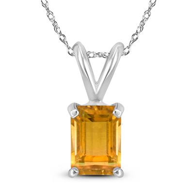 14K White Gold 8x6MM Emerald Shaped Citrine Pendant