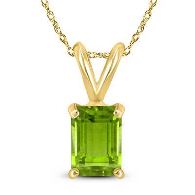 14K Yellow Gold 8x6MM Emerald Shaped Peridot Pendant