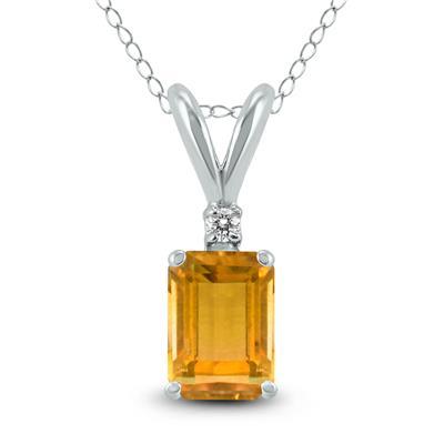 14K White Gold 6x4MM Emerald Shaped Citrine and Diamond Pendant