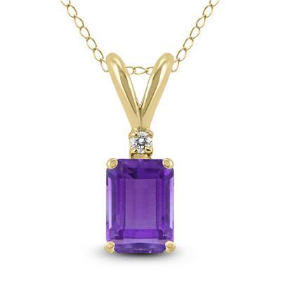 14K Yellow Gold 6x4MM Emerald Shaped Amethyst and Diamond Pendant