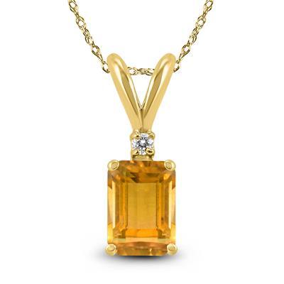 14K Yellow Gold 6x4MM Emerald Shaped Citrine and Diamond Pendant