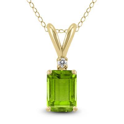 14K Yellow Gold 6x4MM Emerald Shaped Peridot and Diamond Pendant