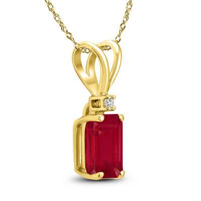 14K Yellow Gold 6x4MM Emerald Shaped Ruby and Diamond Pendant