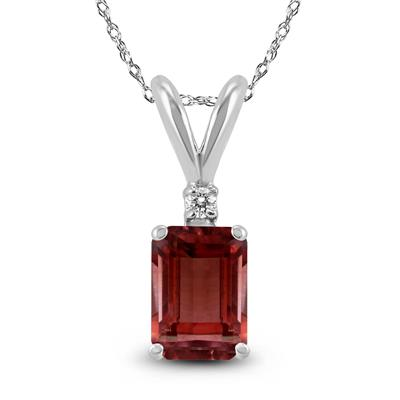 14K White Gold 7x5MM Emerald Shaped Garnet and Diamond Pendant