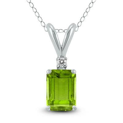 14K White Gold 7x5MM Emerald Shaped Peridot and Diamond Pendant