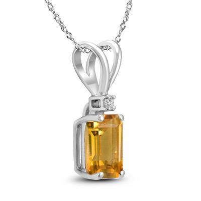 14K White Gold 8x6MM Emerald Shaped Citrine and Diamond Pendant