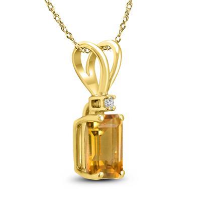 14K Yellow Gold 8x6MM Emerald Shaped Citrine and Diamond Pendant