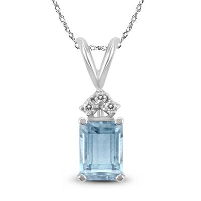 14K White Gold 6x4MM Emerald Shaped Aquamarine and Diamond Pendant
