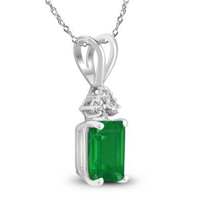 14K White Gold 6x4MM Emerald Shaped Emerald and Diamond Pendant