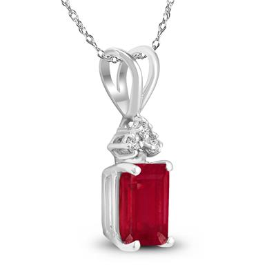 14K White Gold 6x4MM Emerald Shaped Ruby and Diamond Pendant