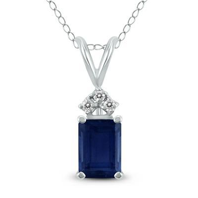 14K White Gold 6x4MM Emerald Shaped Sapphire and Diamond Pendant