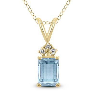 14K Yellow Gold 6x4MM Emerald Shaped Aquamarine and Diamond Pendant