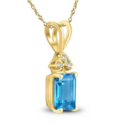 14K Yellow Gold 6x4MM Emerald Shaped Blue Topaz and Diamond Pendant