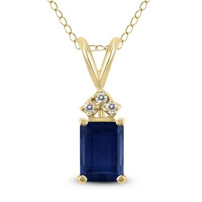 14K Yellow Gold 6x4MM Emerald Shaped Sapphire and Diamond Pendant