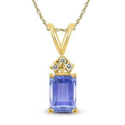14K Yellow Gold 6x4MM Emerald Shaped Tanzanite and Diamond Pendant
