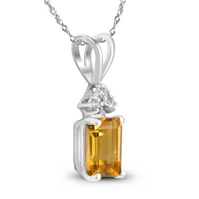 14K White Gold 7x5MM Emerald Shaped Citrine and Diamond Pendant