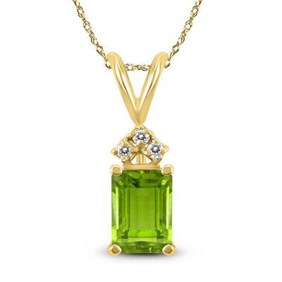 14K Yellow Gold 8x6MM Emerald Shaped Peridot and Diamond Pendant