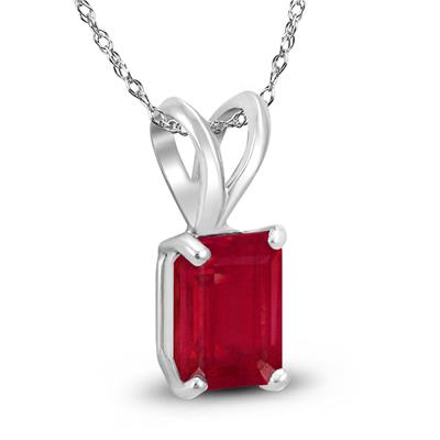 14K White Gold 5x3MM Emerald Shaped Ruby Pendant