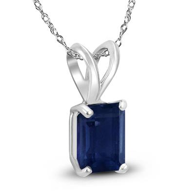 14K White Gold 5x3MM Emerald Shaped Sapphire Pendant