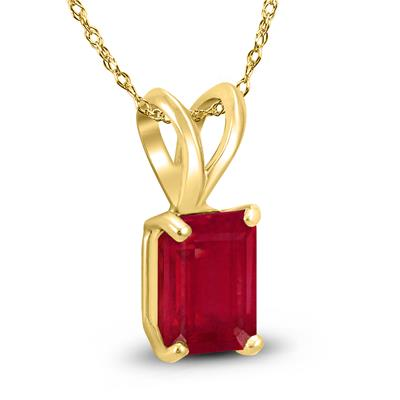 14K Yellow Gold 5x3MM Emerald Shaped Ruby Pendant