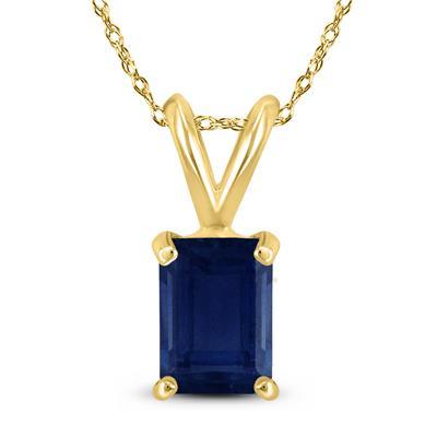 14K Yellow Gold 5x3MM Emerald Shaped Sapphire Pendant