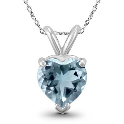 14K White Gold 4MM Heart Aquamarine Pendant