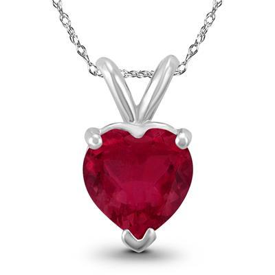14K White Gold 4MM Heart Ruby Pendant